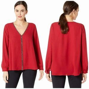 Karen Kane Red Starlight Sparkle Long Sleeve Top
